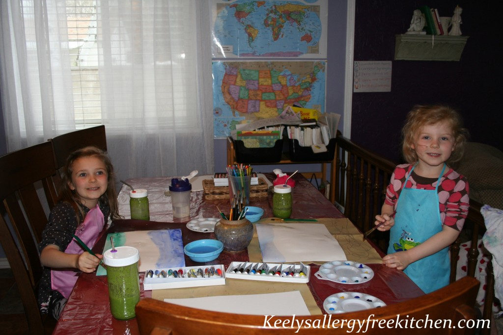 watercolor painting with our green smoothie